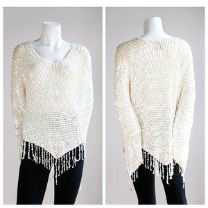 White Sequin Crochet Long Sleeve Top w Fringe Trim